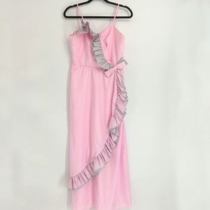 Vintage Pink Sleeveless Maxi Dress With Bow